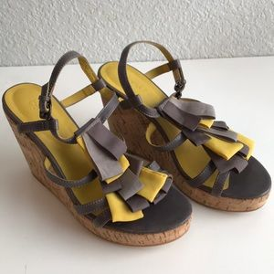 Boden Wedges With Ruffle Ribbons Sz 37 6.5